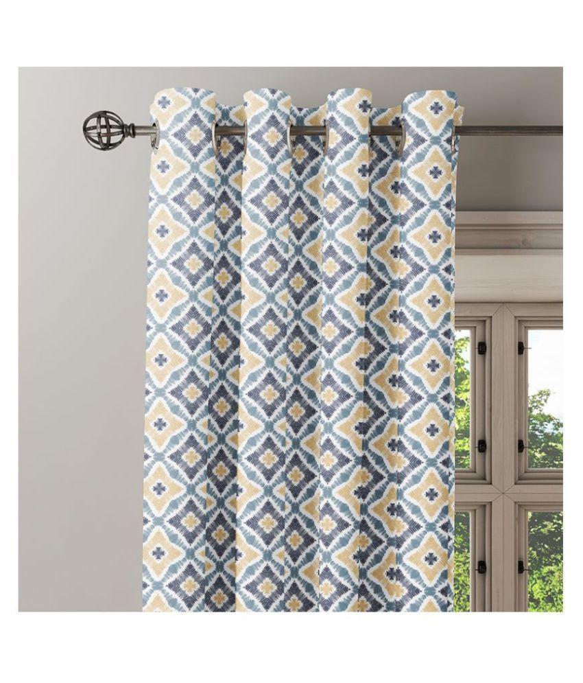 Ixora Decor Single Door Eyelet Cotton Curtains Gray