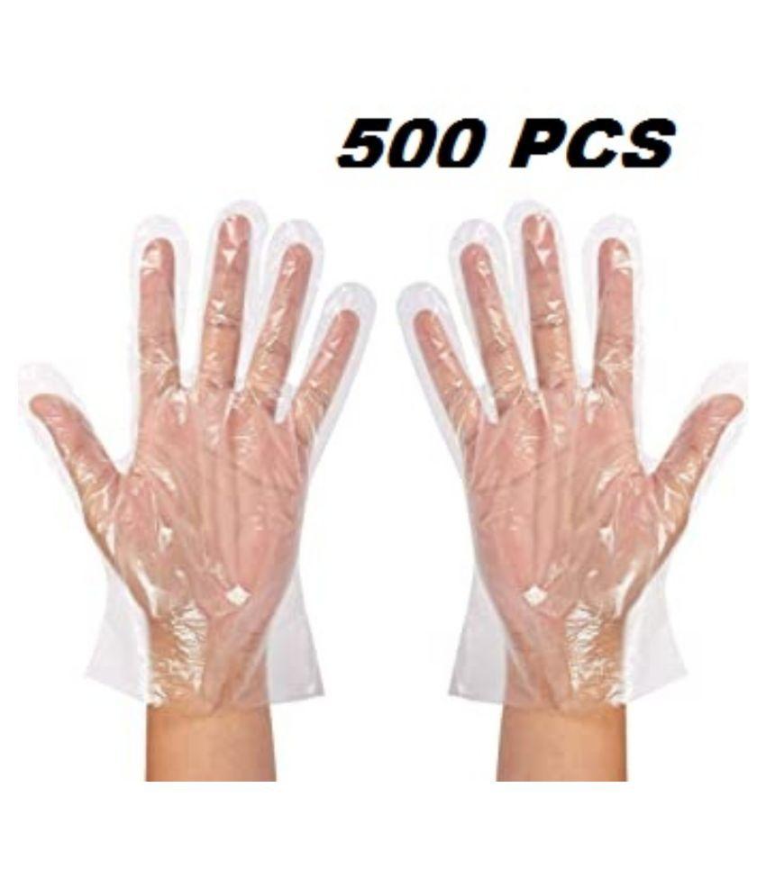 Aquashine plastic universal size cleaning glove pack of 500pcs