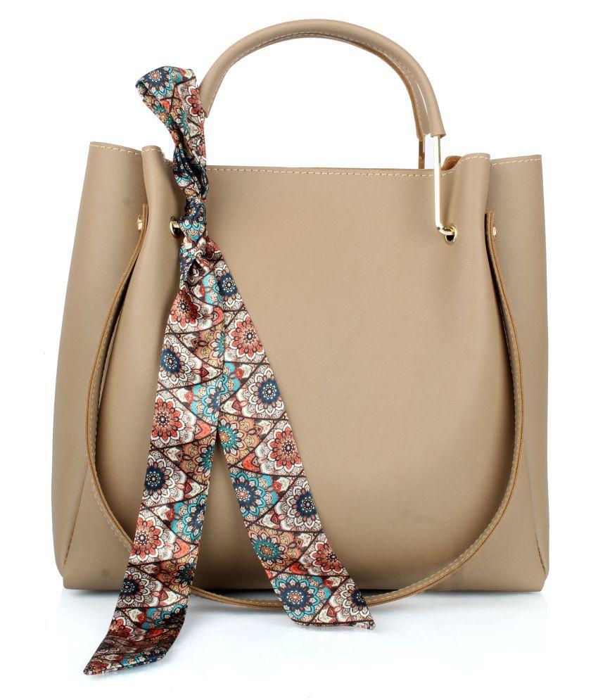 Raspberry Beige P.U. Shoulder Bag
