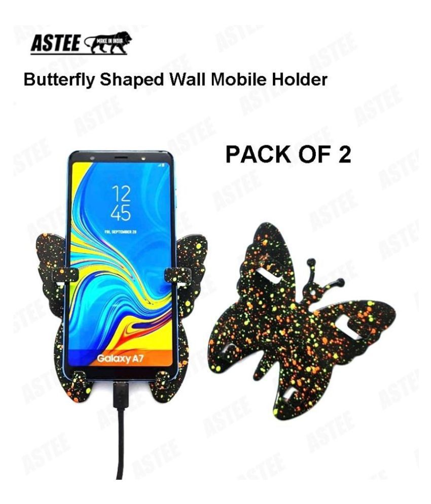 ASTEE BUTTERFLY SHAPED  Universal Wall Mobile Holder, Smartly Designed to fit almost all shapes and sizes of Mobile Phone TO Organize your Mobile Phone while charging PACK OF 2