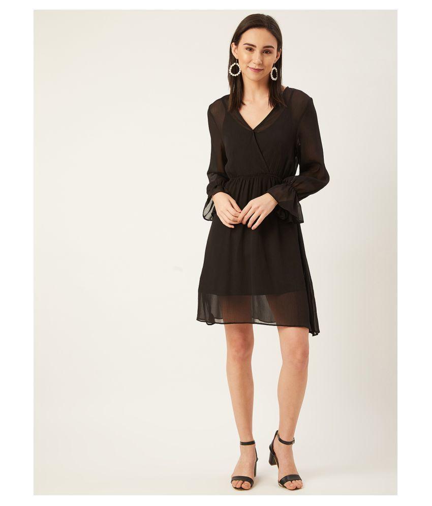 Anvi Be Yourself Chiffon Black Empire Dress