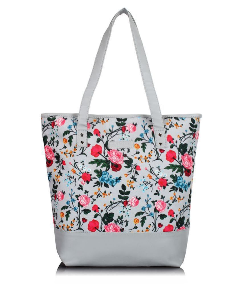 Lychee Bags Gray Canvas Tote Bag
