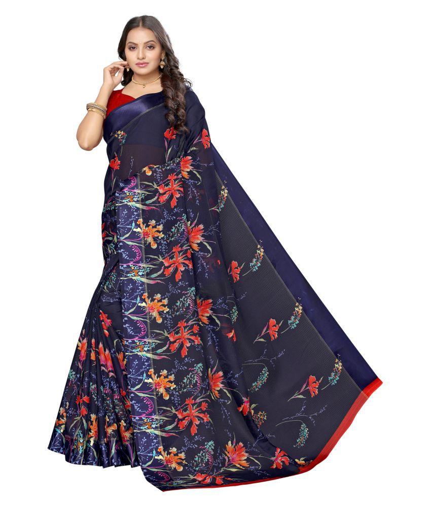 Sherine Blue Cotton Blend Saree