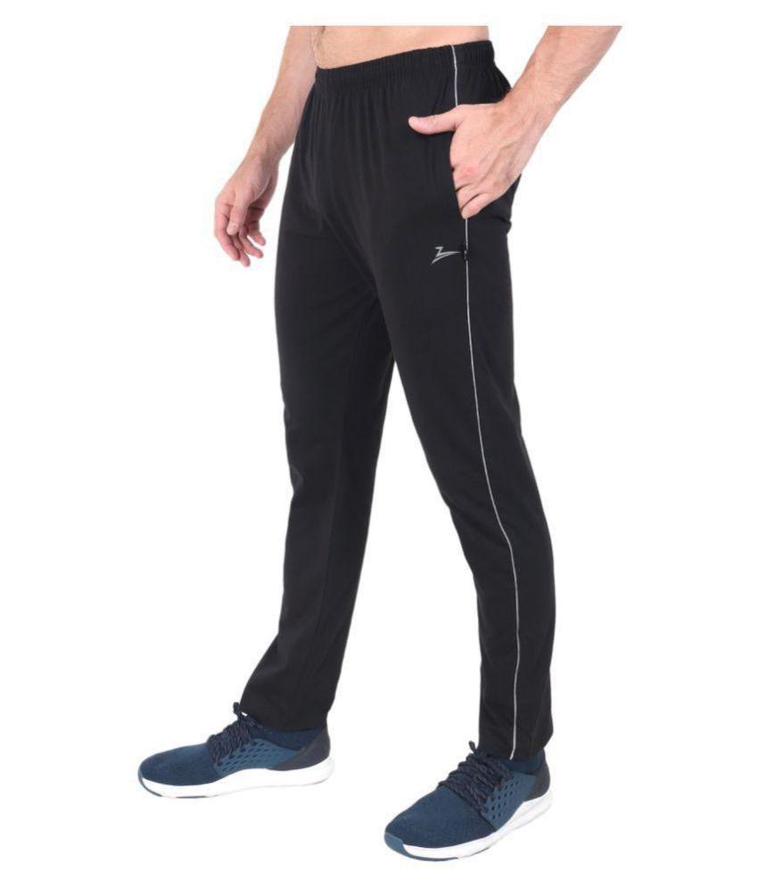 Zeffit Black Cotton Blend Trackpants Single