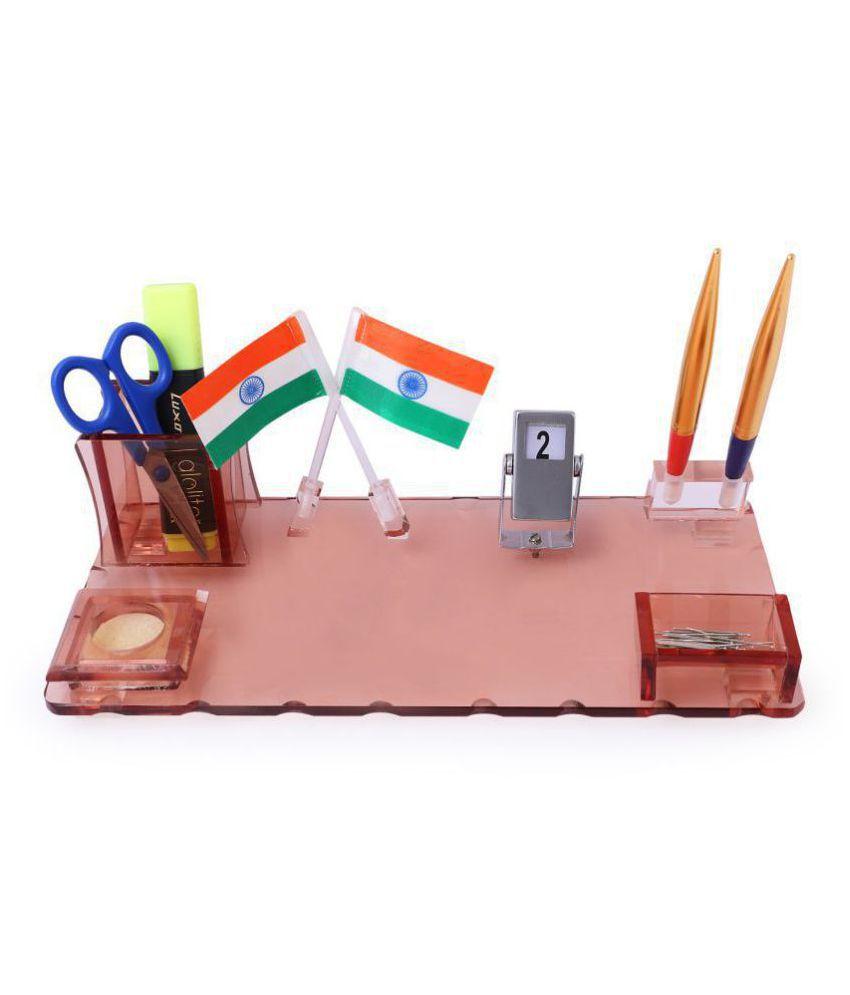 Rasper Acrylic Pen Stand Table Top Desk Organiser For Office Table with Mountable Flag