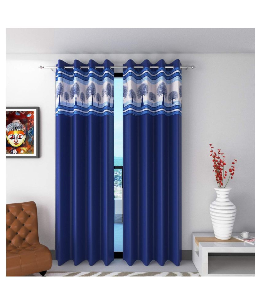 garg cotex pvt ltd Set of 2 Door Eyelet Polyester Curtains Blue