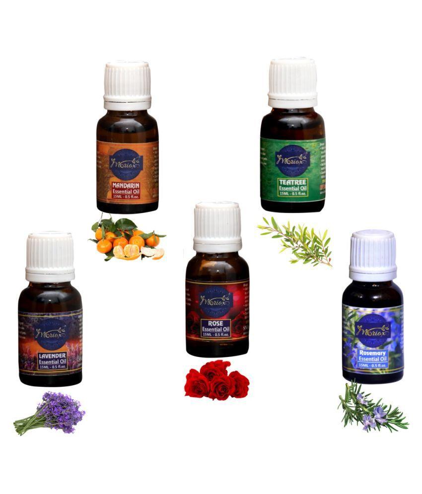 Moriox Mandarin,Tea Tree,Lavender,Rose,Rosemary essential oils-Pack of 5 Aromas/Diffuser/Soap Oil Essential Oil 300 g