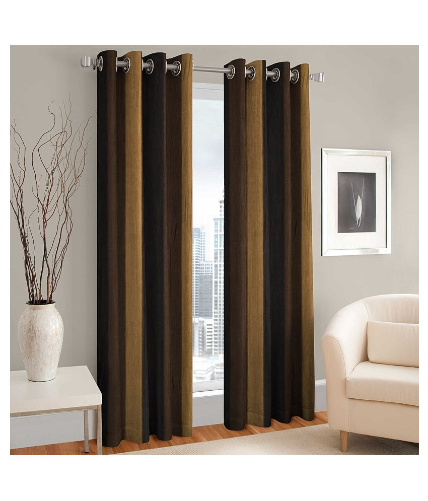 garg cotex pvt ltd Set of 2 Door Blackout Room Darkening Eyelet Polyester Curtains Coffee