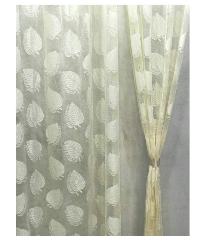 garg cotex pvt ltd Set of 2 Door Transparent Eyelet Net Curtains Cream