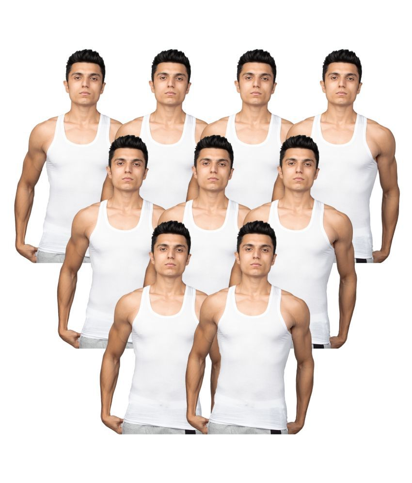 Euro White Sleeveless Vests Pack of 9