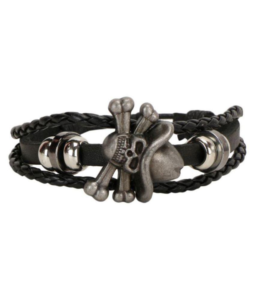 Chocozone Rough & Tough Leather Stylish Skul Bracelet for Boys Friendship Band Bracelets Casual Party Wear Mens Bracelet