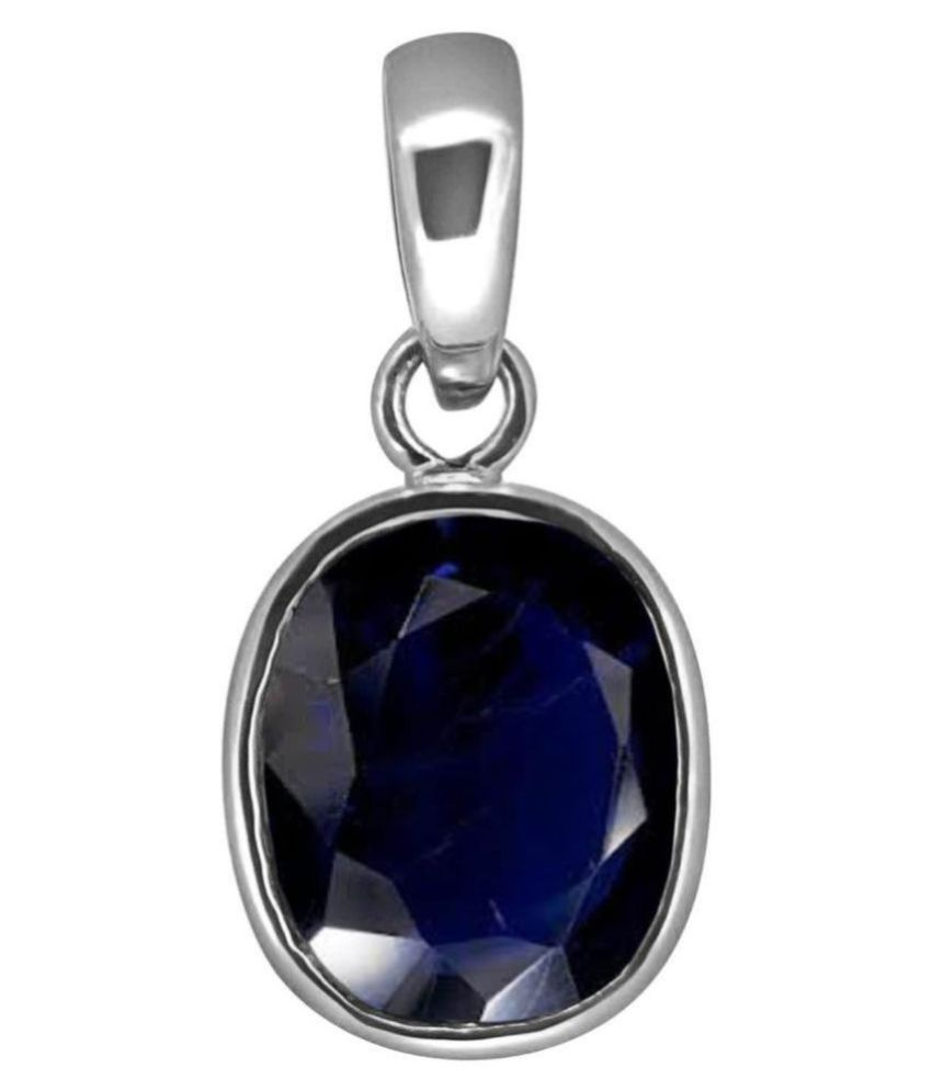 A1 Gems 7.25 Ratti 6.42 Carat A+ Quality Blue Sapphire Neelam Gemstone Pendant For Men and Women's