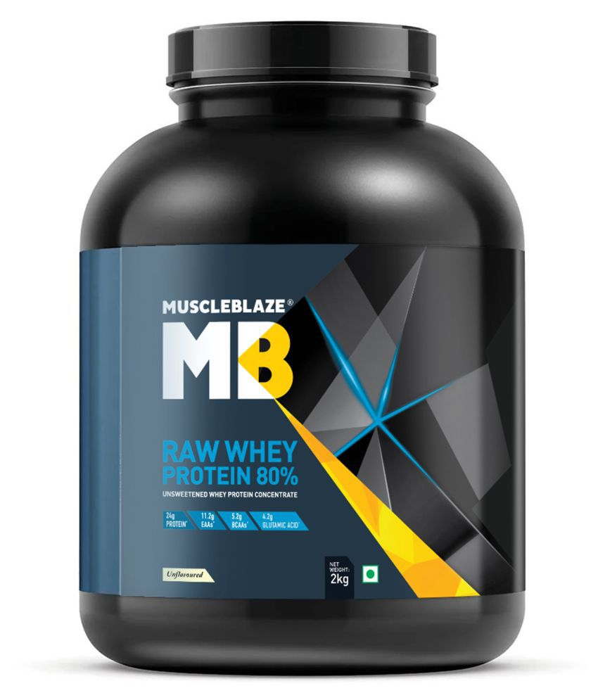 MuscleBlaze Raw Whey Protein, Unflavoured 66 Servings  4.4 lb/ 2 kg