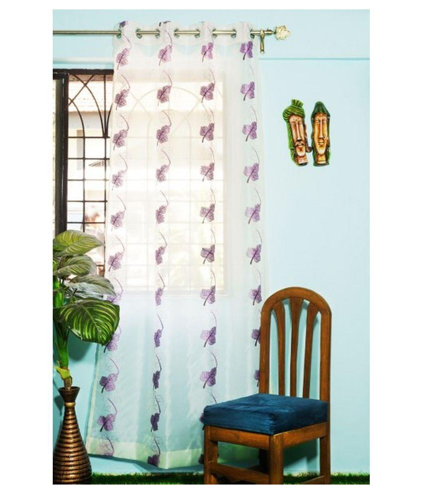PardaOnline Single Window Semi-Transparent Eyelet Polyester Curtains Purple