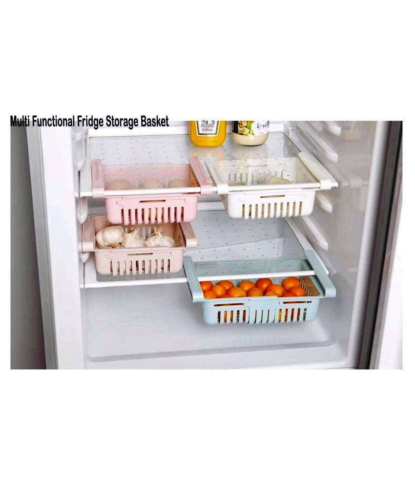 4 Pcs Expandable Adjustable Fridge Storage Basket, Under Shelf Fridge Rack Slide, Refrigerator Sliding Drawers, Plastic Fridge Space Saver Food Organizer Tray