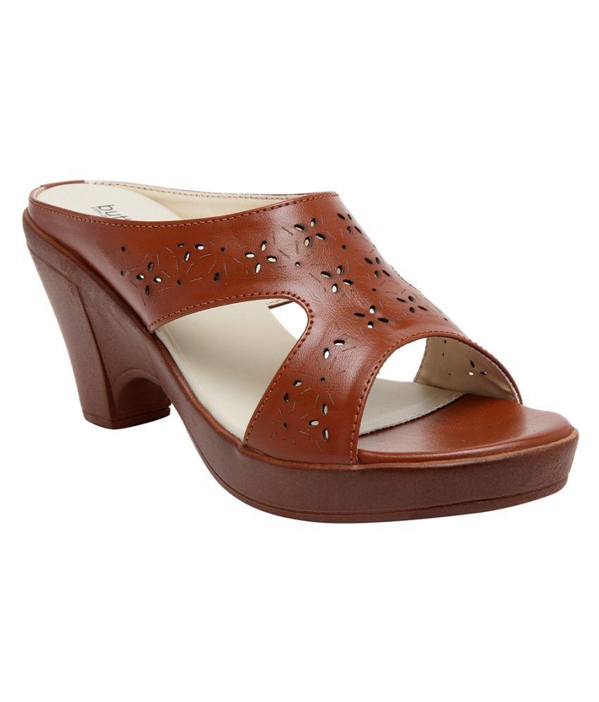 Butterflies Tan Block Heels
