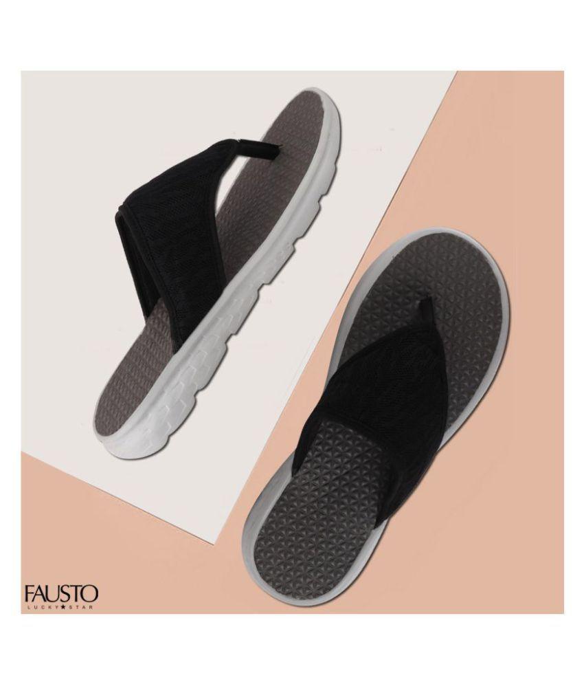 Fausto Black Thong Flip Flop