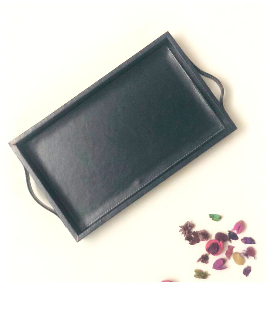 CasaGold: Premium Leather Serving Tray with Handles (Ink Blue)