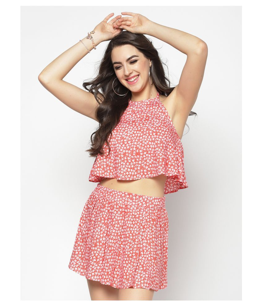 Sera Viscose Orange Fit And Flare Dress