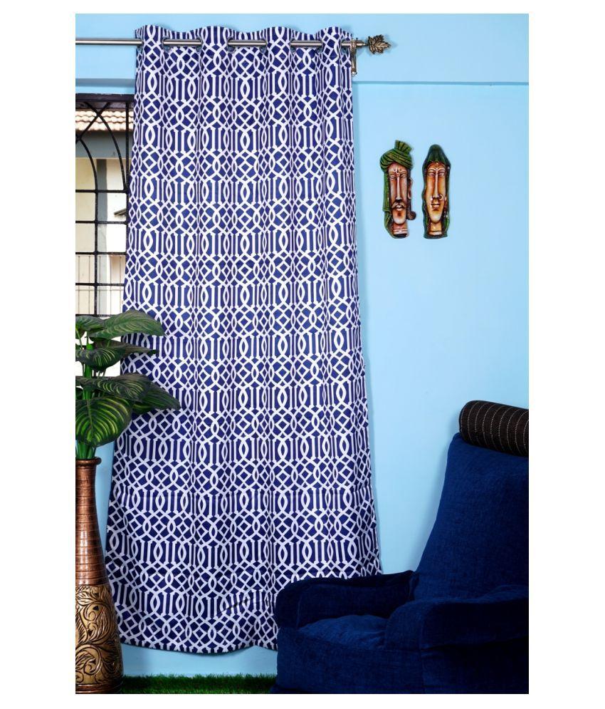 PardaOnline Single Window Blackout Room Darkening Eyelet Polyester Curtains Navy Blue