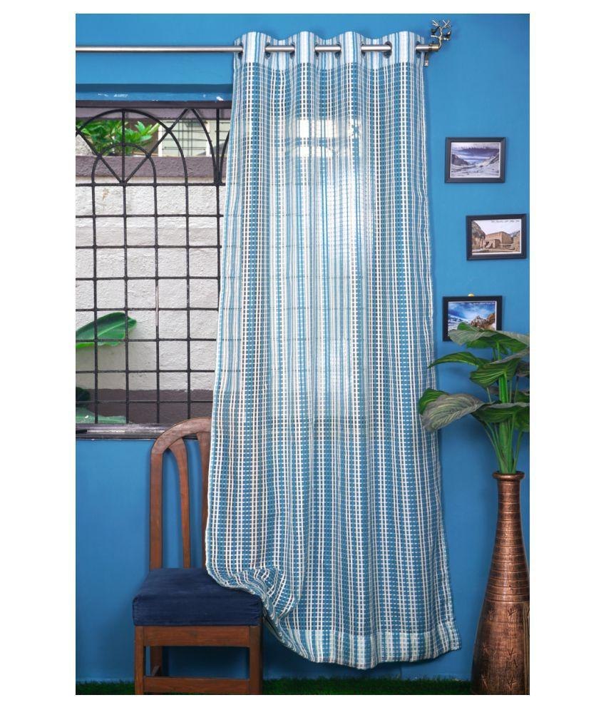 PardaOnline Single Window Transparent Eyelet Net Curtains Blue