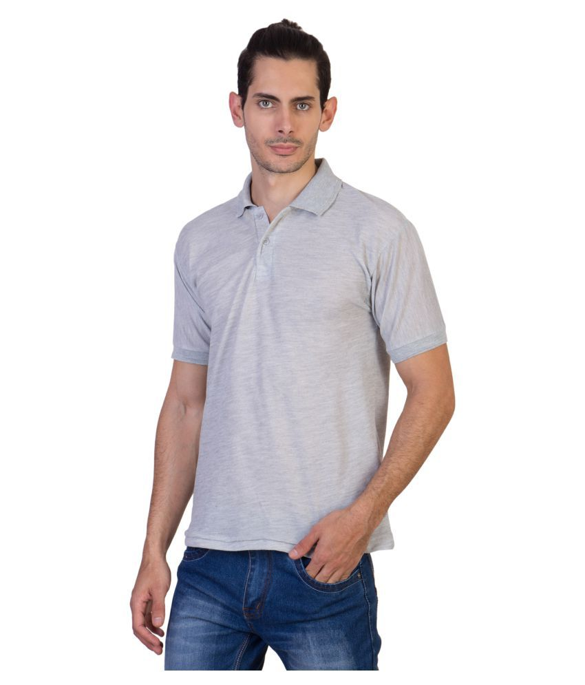 HVN Cotton Blend Grey Plain Polo T Shirt