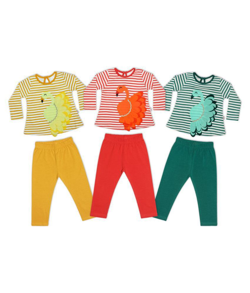 Sweety Pie All Over Printed 100% Cotton Knitted Full Sleeve Round Neck Casual Fit Top With Elasticated Full Pant For Infant Girls