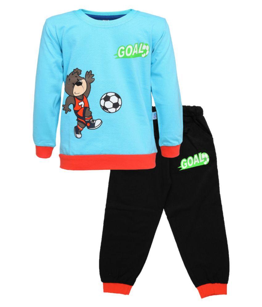 CATCUB Kids Cotton  Printed Clothing Set (Blue)