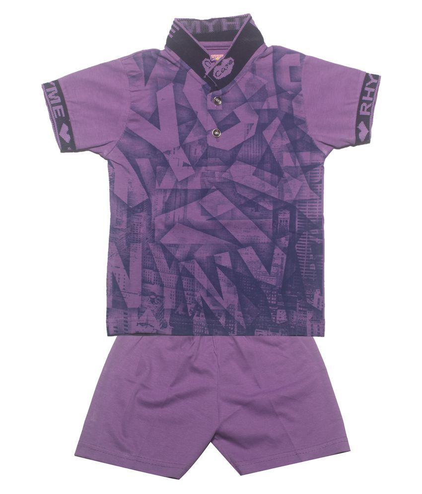 INFANT Boys Printed Cotton Half sleeve Stylish T-Shirt & Haif pant.(Multicolor, Pack of 1)