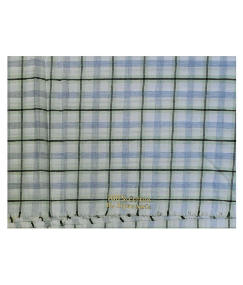 Siyaram's Blue 100 Percent Cotton Unstitched Shirt pc