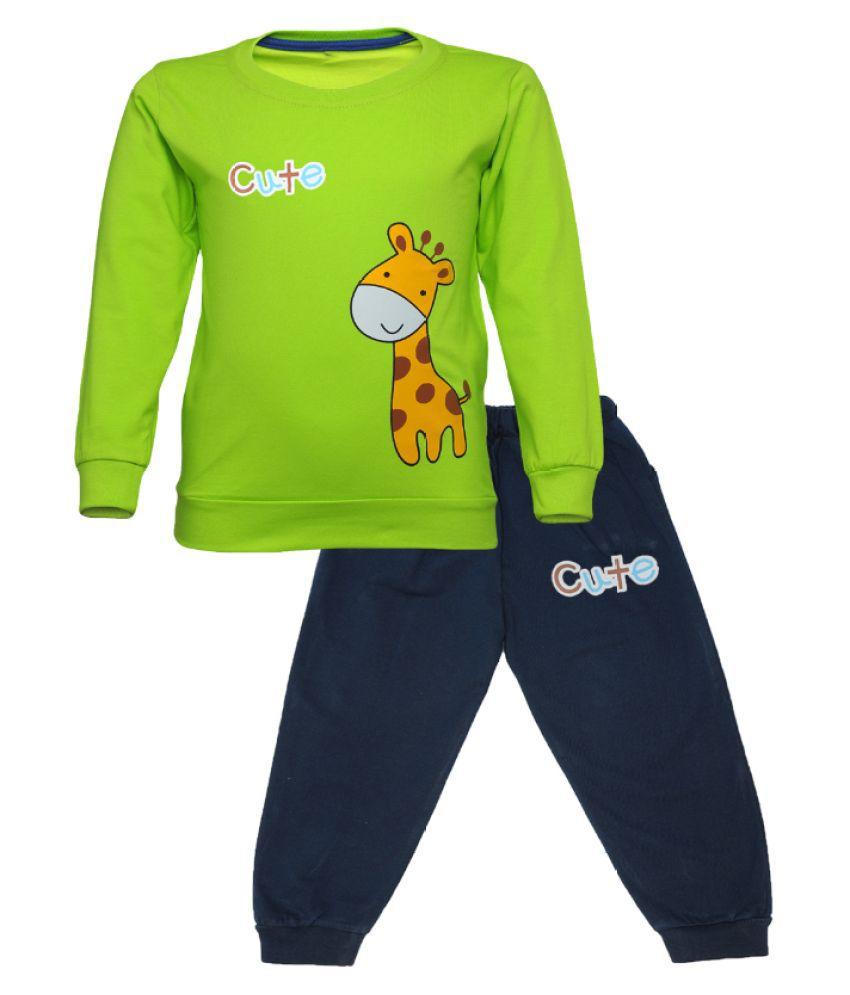 CATCUB Kids Cotton Cute Giraffe Printed Clothing Set (Green)