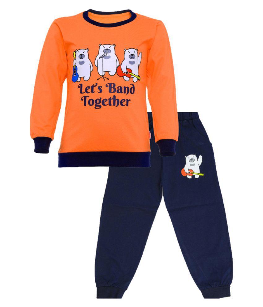 CATCUB Kids Cotton  Printed Clothing Set (Orange)