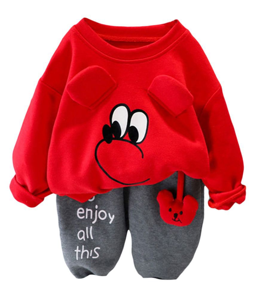 Hopscotch Baby Boys Cotton And Spandex Full Sleeves Art Printed Sweatshirt And Jogger Set in Red Color For Ages 18-24 Months (BP4-3362952)