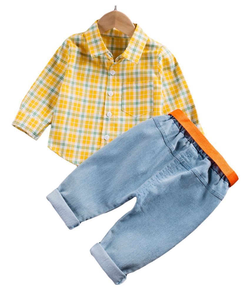 Hopscotch Boys Cotton And Polyester Full Sleeves Checked Printed Shirt And Jeans Set in Yellow Color For Ages 3-4 Years (YF0-3155275)