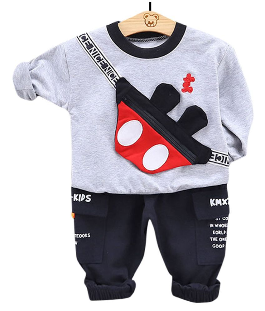 Hopscotch Boys Cotton And Polyester Full Sleeves Applique T-Shirt And Pant Set in Gray Color For Ages 3-4 Years (YYZ-3128367)