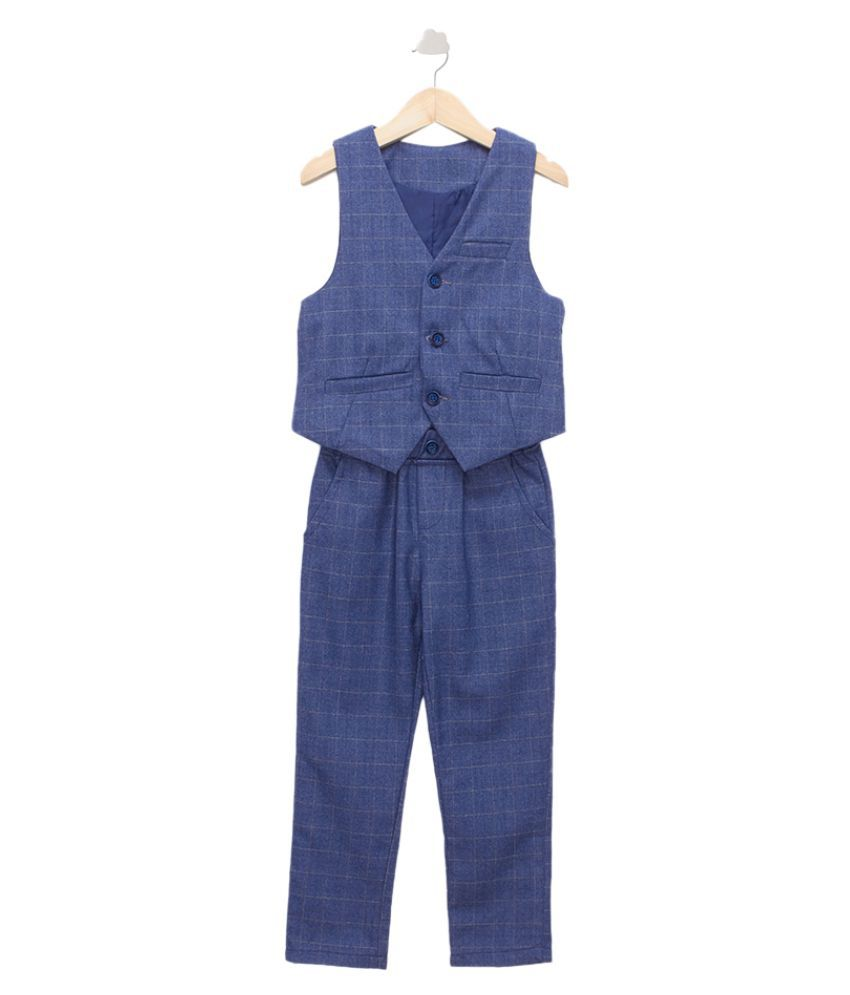 Hopscotch Boys Cotton And Polyester Waistcoat And Pant Formal Set in Blue Color For Ages 3-4 Years (YMB-3148030)