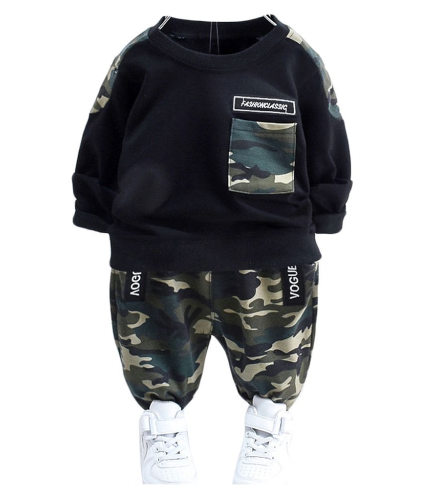 Hopscotch Boys Cotton And Spandex Full Sleeves Sweatshirt Camouflage Printed Joggers in Green Color For Ages 2-3 Years (XHZ-3126028)