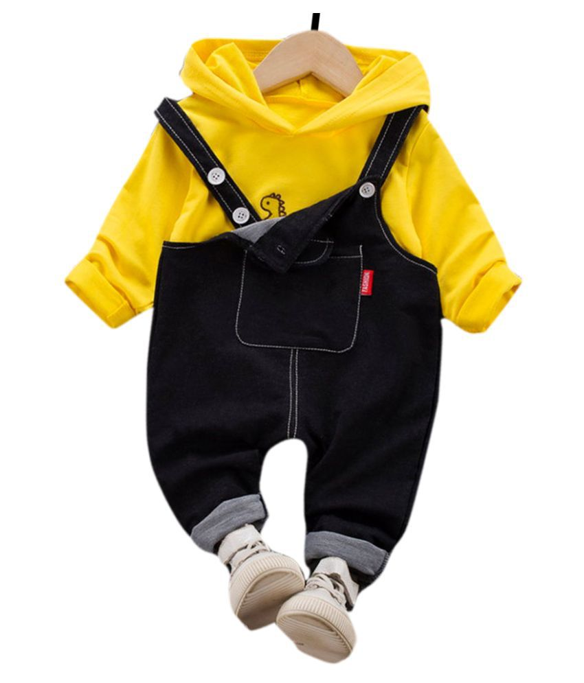 Hopscotch Boys Cotton And Spandex Full Sleeves Solid Hoodie And Dungaree Overall Set in Yellow Color For Ages 3-4 Years (XHZ-3252617)