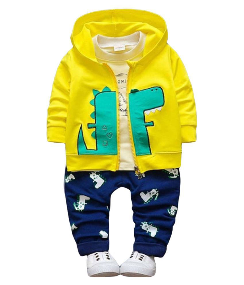 Hopscotch Boys Cotton And Spandex Full Sleeves Animal Printed Jacket, T-Shirt And Pant Layering Set in Yellow Color For Ages 3-4 Years (YAH-3321709)