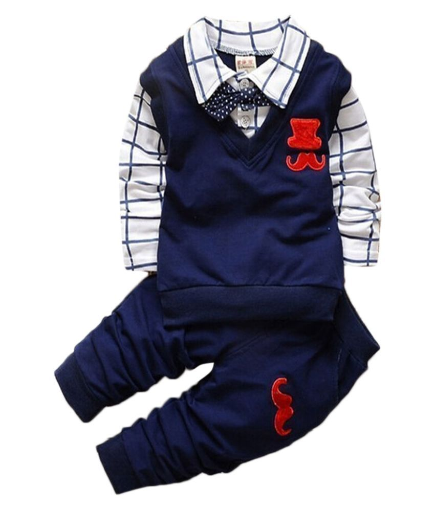 Hopscotch Boys Cotton And Spandex Full Sleeves Applique Solid Sweatshirt And Pant Set in Navy Color For Ages 3-4 Years (YAH-3133339)