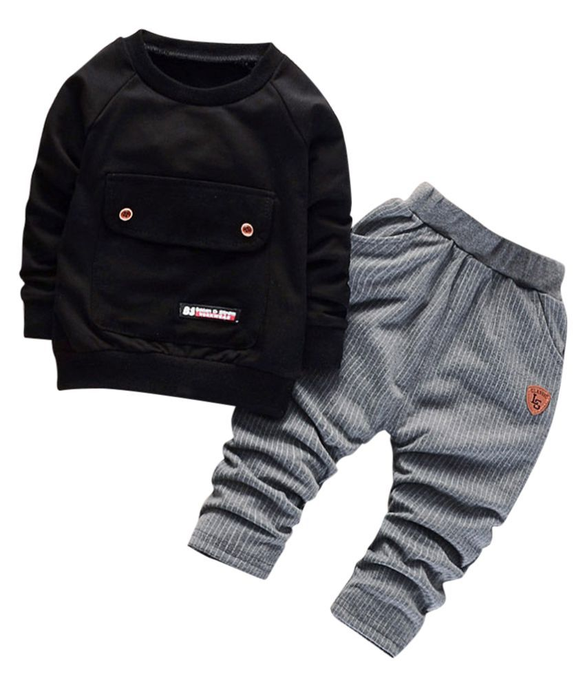 Hopscotch Boys Cotton And Spandex Full Sleeves Solid Sweatshirt And Pant Set in Black Color For Ages 2-3 Years (ERB-3139605)