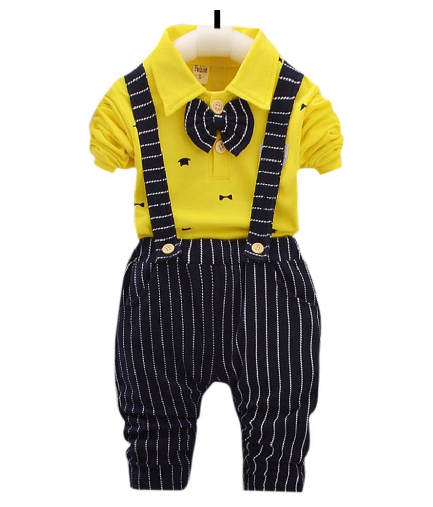 Hopscotch Boys Cotton And Spandex Full Sleeves Applique Bow Solid Shirt And Suspended Pant Formal Set in Yellow Color For Ages 3-4 Years (DYZ-3255715)