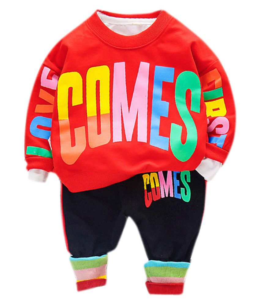 Hopscotch Boys Cotton And Spandex Full Sleeves Text Printed Sweatshirt And Jogger Sport Set in Red Color For Ages 2-3 Years (YAH-3205319)
