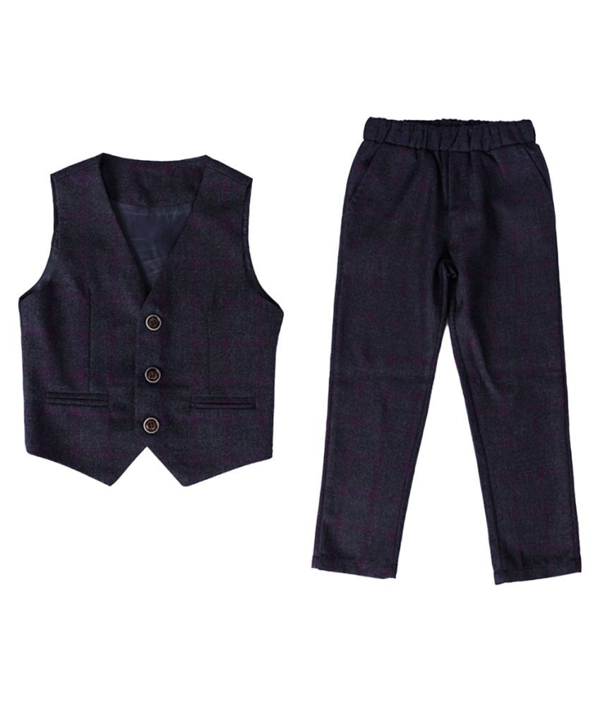 Hopscotch Boys Polyester Fiber Cotton Solid Applique Bow Shirt Waistcoat And Pant Set With Blazer in Navy Color For Ages 10-11 Years (HWT-2044723)