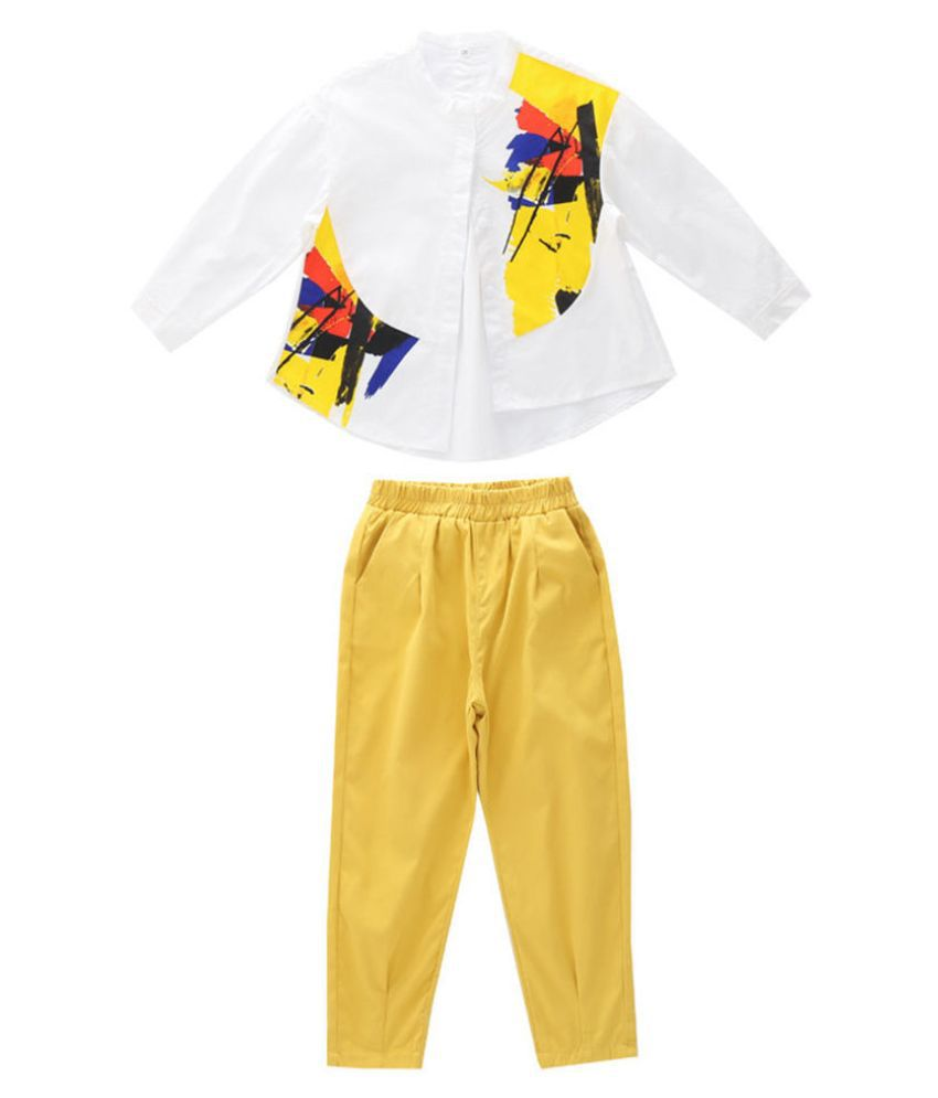 Hopscotch Girls Cotton And Polyester Full Sleeves Art Printed Top And Pant Set in Yellow Color For Ages 4-5 Years (ADX-3109535)