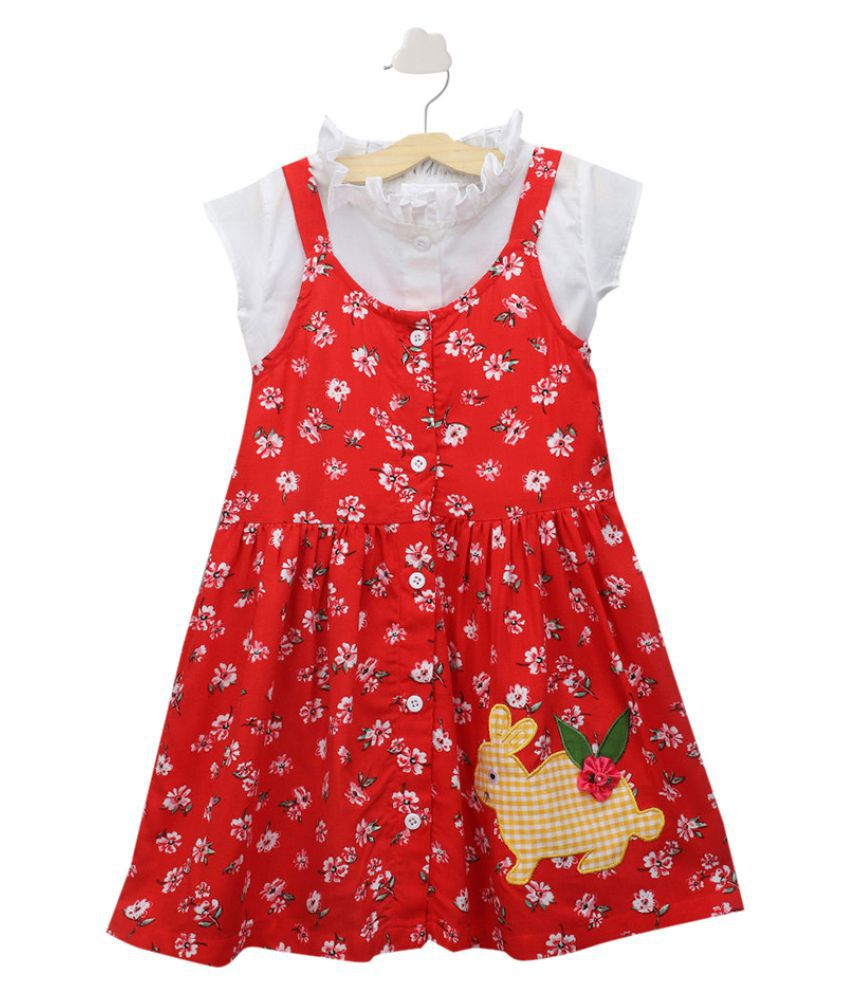 Hopscotch Girls Cotton And Spandex Printed And Embroidered Pinafore Set With Blouse in Red Color For Ages 7-8 Years (SE-3336590)