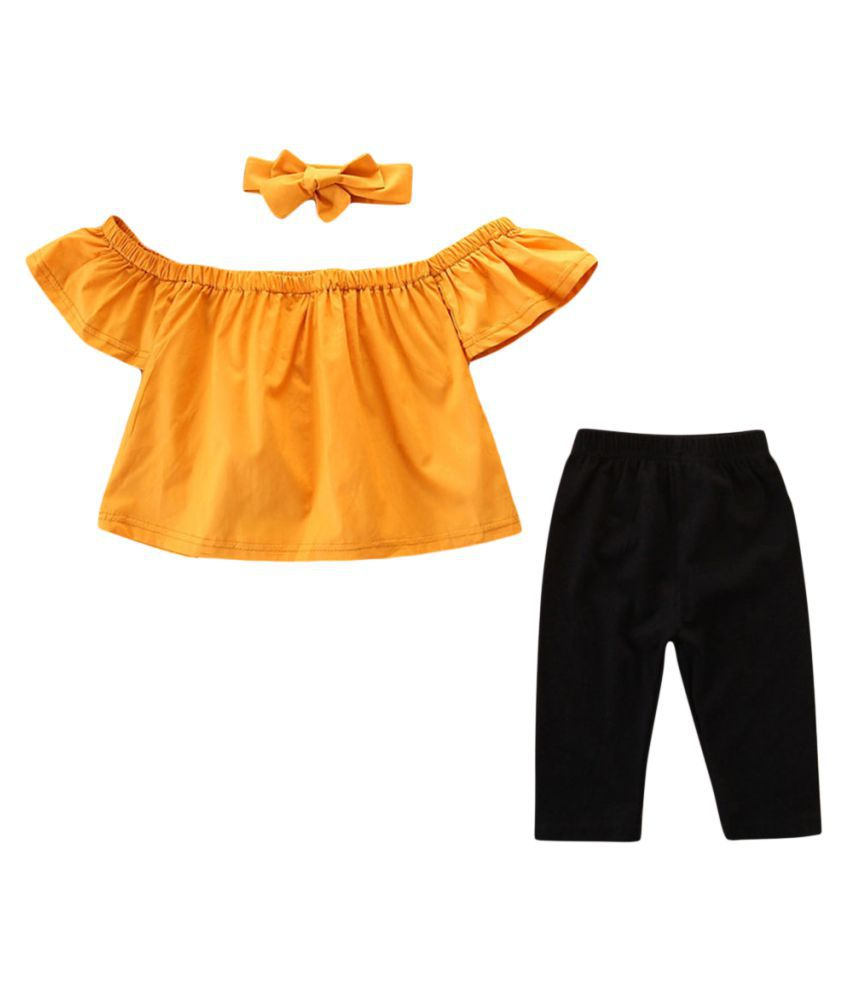Hopscotch Girls Cotton Open Shoulder Sleeves Solid Top, Headband And Pant Set in Yellow Color For Ages 2-3 Years (SB9-3129586)