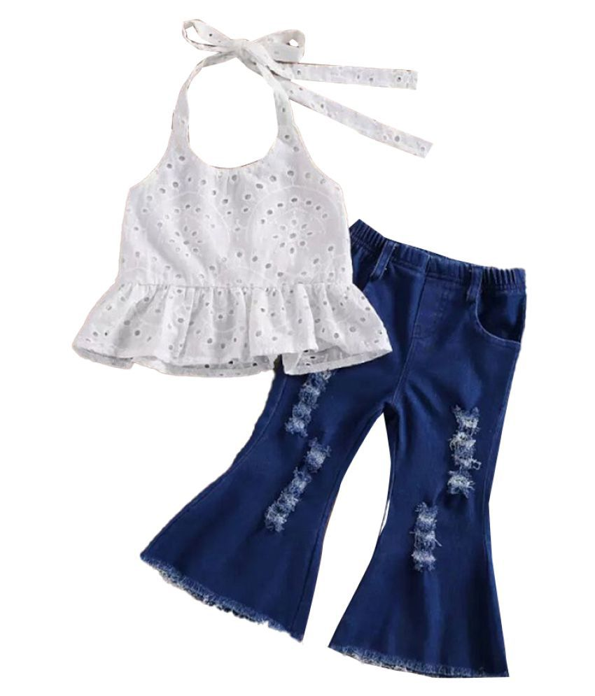 Hopscotch Girls Cotton Sleeveless Solid Jeans Set in White Color For Ages 4-5 Years (FUF-3399191)