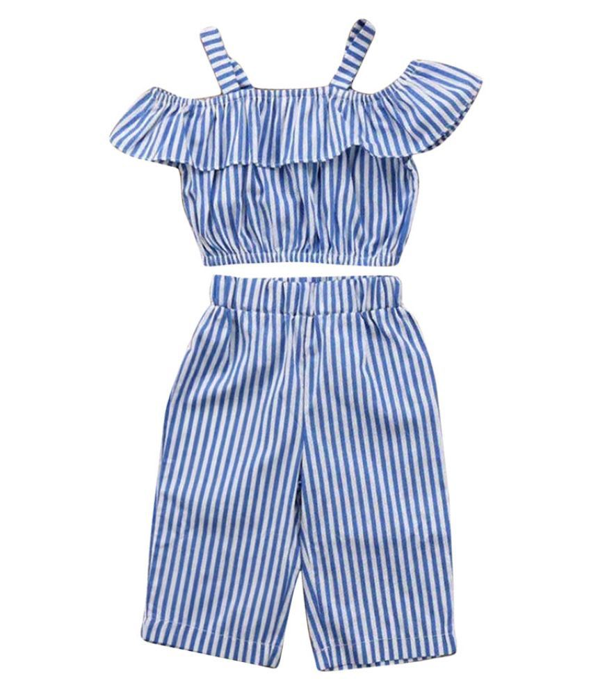Hopscotch Girls Cotton Solid Applique Cold Shoulder Top And Pant Set in Blue Color For Ages 2-3 Years (FUF-2953559)