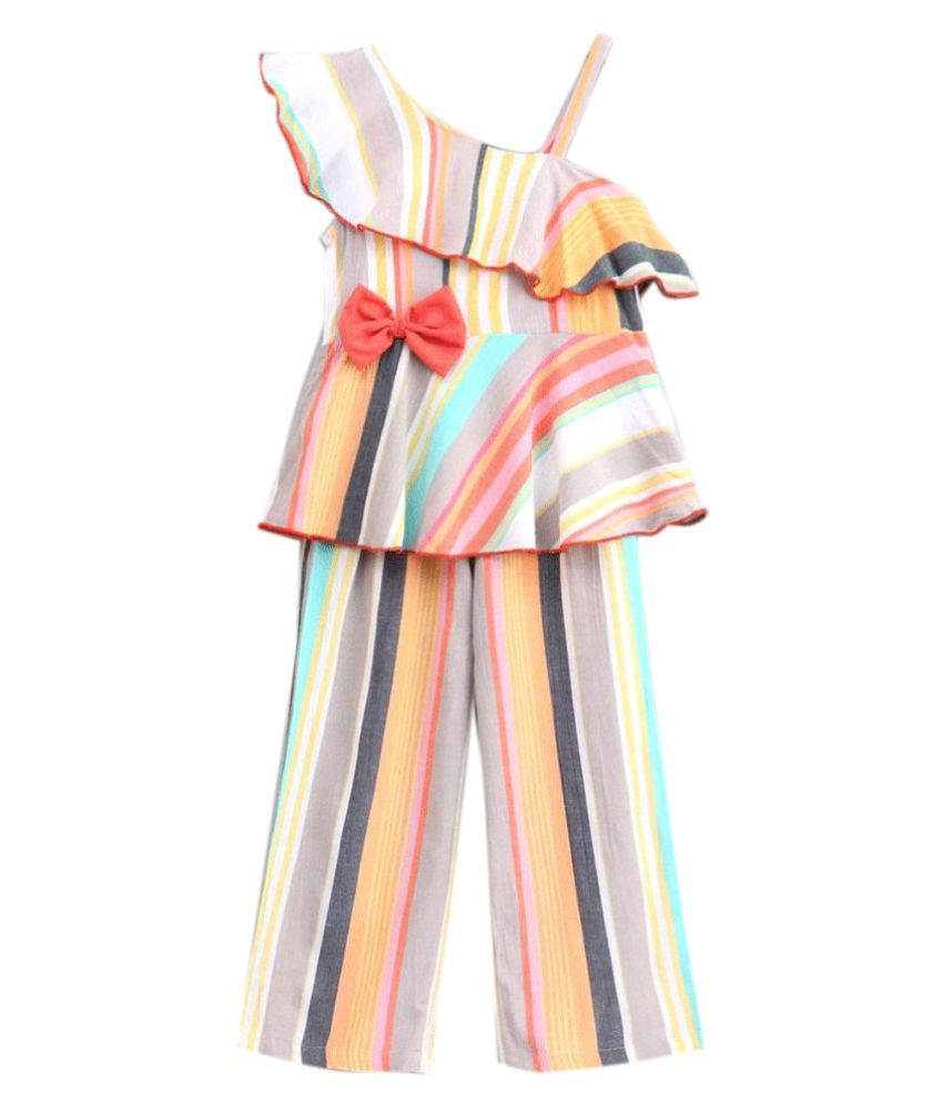 Hopscotch Girls Cotton Striped Pant Suit in White Color For Ages 2-3 Years (MBC-3435515)